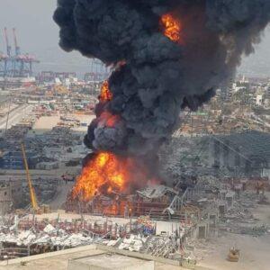 حريق جديد كبير في مرفأ بيروت