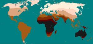 لون الجلد حسب المنطقة